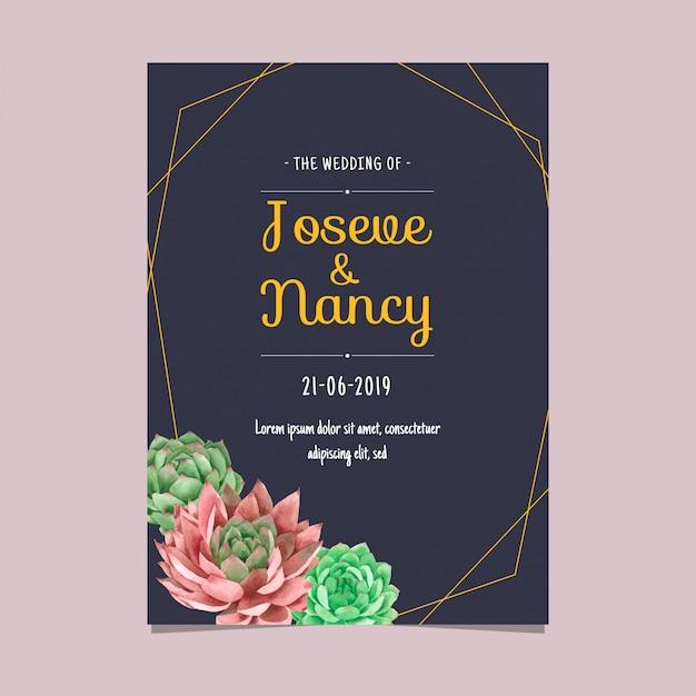 Granatowy i złoty szablon sukulentów cactus wedding card Premium Wektorów