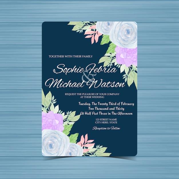 Granatowy kwiatowy wesele zaproszenie karty z niebieskimi różami i soczyste Premium Wektorów