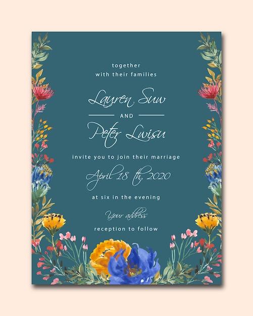 Granatowy ślub szablon zaproszenia ślubne z akwarela kwiatowy Premium Wektorów