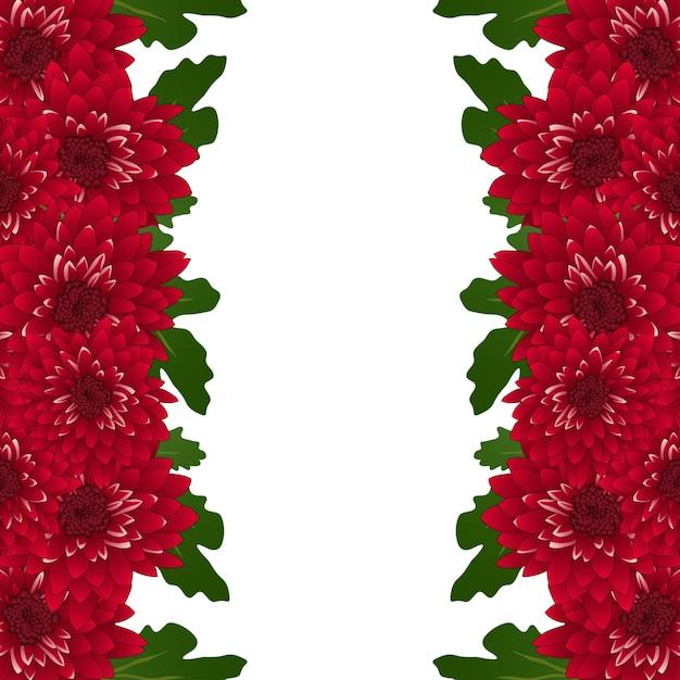 Granica kwiat chryzantemy Premium Wektorów