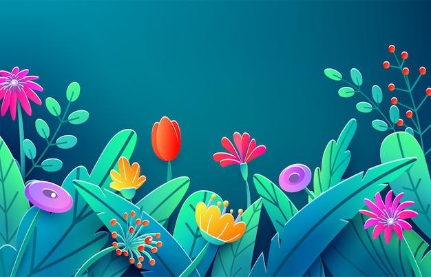 Granicy Lato Z Papieru Cięte Kwiaty Fantasy, Liście, łodyga Na Białym Tle Darmowych Wektorów