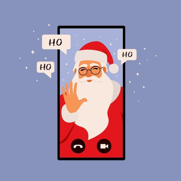 Gratulacje Online, Ilustracja Koncepcja Bożego Narodzenia. Telefon Z Mikołajem Dzwoni. Ilustracja Płaski. Premium Wektorów