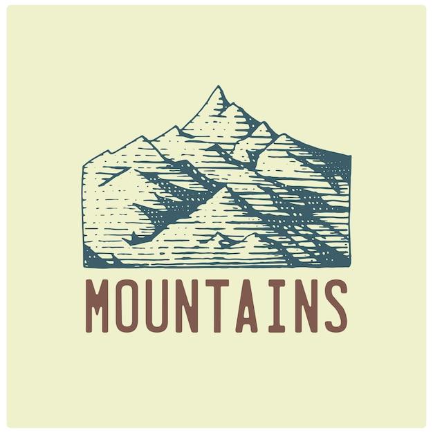 Grawerowane Vintage Logo Z Ręcznie Rysowanymi Górami, Styl Szkicu, Staro Wyglądająca Retro Odznaka Dla Parków Narodowych I Kempingu, Alpejskie I Turystyczne Premium Wektorów
