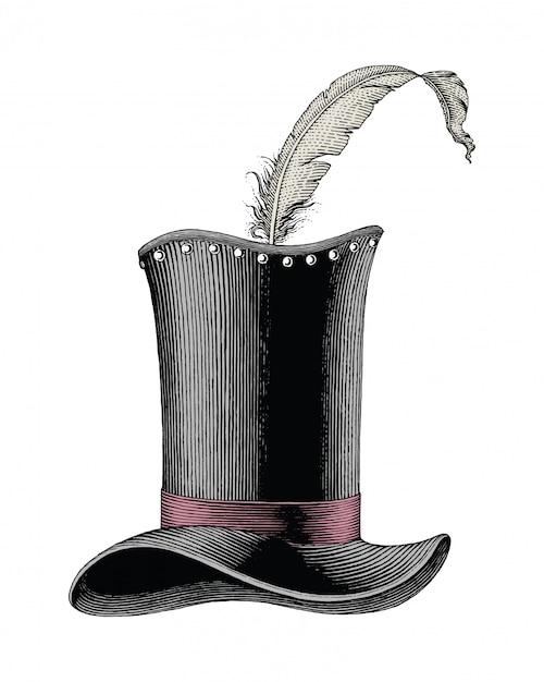 Grawerowanie Kapelusz Ilustracja Moda Vintage Premium Wektorów