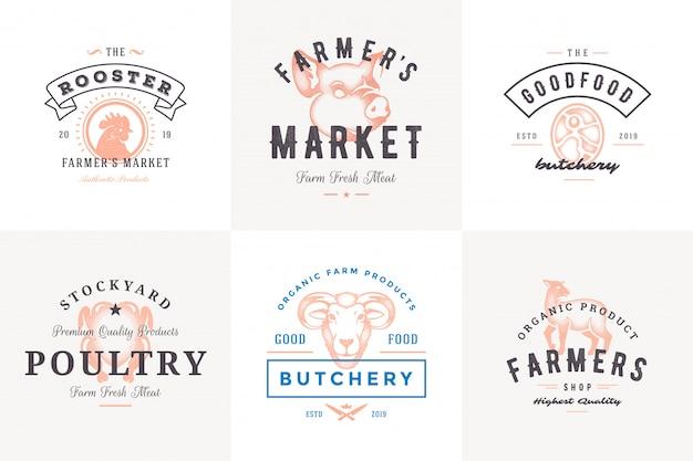Grawerowanie Logo I Etykiet Zwierząt Gospodarskich Z Nowoczesną Typografią Vintage Ręcznie Rysowane Zestaw Ilustracji Wektorowych. Premium Wektorów