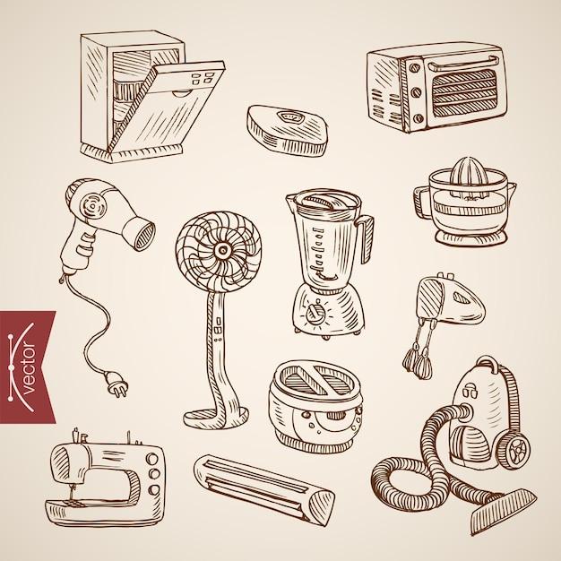 Grawerowanie Vintage Ręcznie Rysowane Kolekcja Urządzeń Gospodarstwa Domowego Kuchni. Darmowych Wektorów