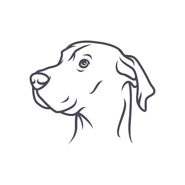 Great Dane Dog - Wektor Logo / Ikona Ilustracja Maskotka Premium Wektorów