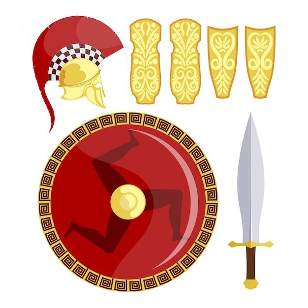 Greckie Tarcze, Miecz I Zbroja Premium Wektorów