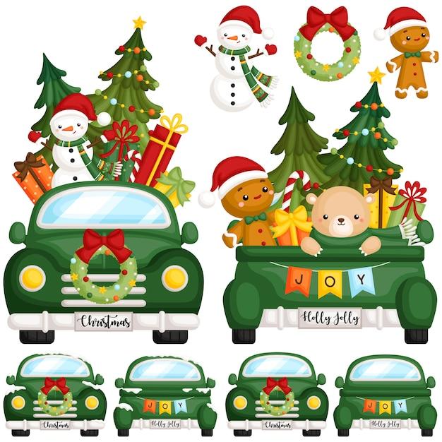 Green christmas truck front Premium Wektorów