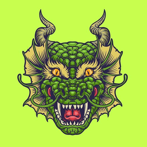 Green Dragon Head Premium Wektorów