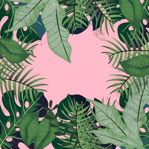 Greenery tropikalni liście na różowym tle Premium Wektorów