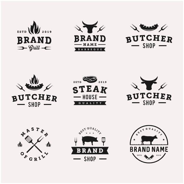 Grill / Grill Grill Jedzenie Wektor Logo Szablon Projektu Premium Wektorów