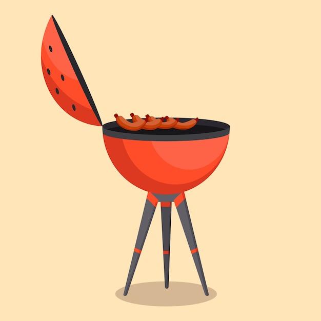 Grill Lub Grill Barbecue Na Białym Tle Na Beż Premium Wektorów