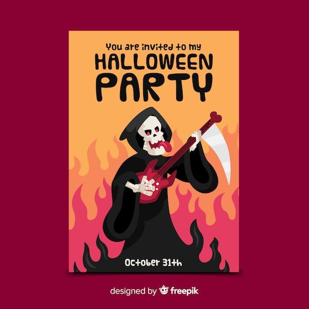 Grim reaper halloween szablon ulotki Darmowych Wektorów