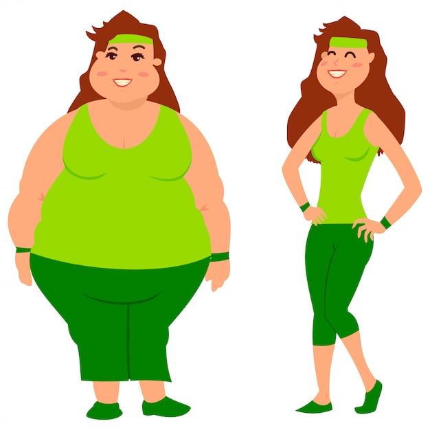 Gruba i szczupła kobieta przed i po odchudzaniu Premium Wektorów