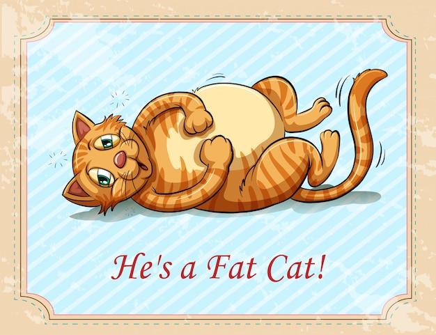 """Mały obrazek przedstawiający animowanego kota z dużym brzuszkiem. pod zdjęciem napis """" he is a fat cat"""""""