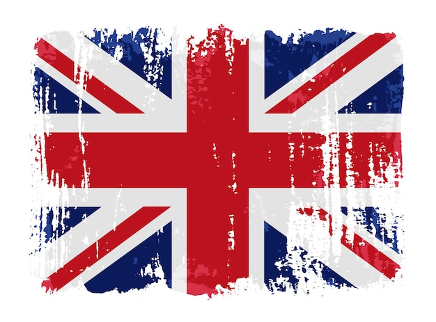 Grunge Pociągnięcia Pędzlem Flaga Brytyjska Premium Wektorów