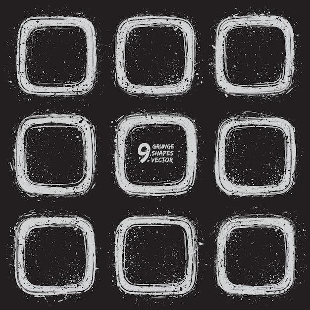 Grunge Ramki Projekt Wektor Zestaw Premium Wektorów