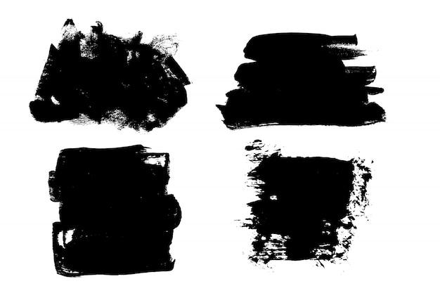 Grunge ręcznie rysowane pędzlem pasek. wektorowy czarny atrament Premium Wektorów