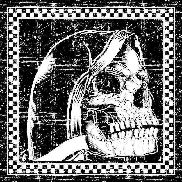 Grunge styl czaszki retro, vintage, detal rysunek ręka Premium Wektorów