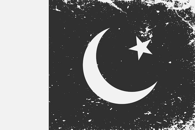 Grunge W Stylu Czarno-białej Flagi Pakistanu Premium Wektorów