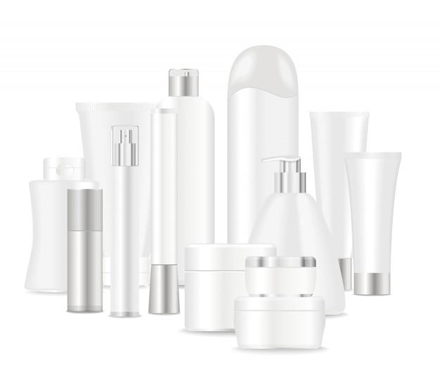 Grupa Białych Tubek Kosmetycznych Premium Wektorów