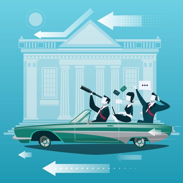 Grupa Biznesmen Podróż Samochodem Z Giełda Papierów Wartościowych Wekslowym Budynkiem Na Tle Premium Wektorów