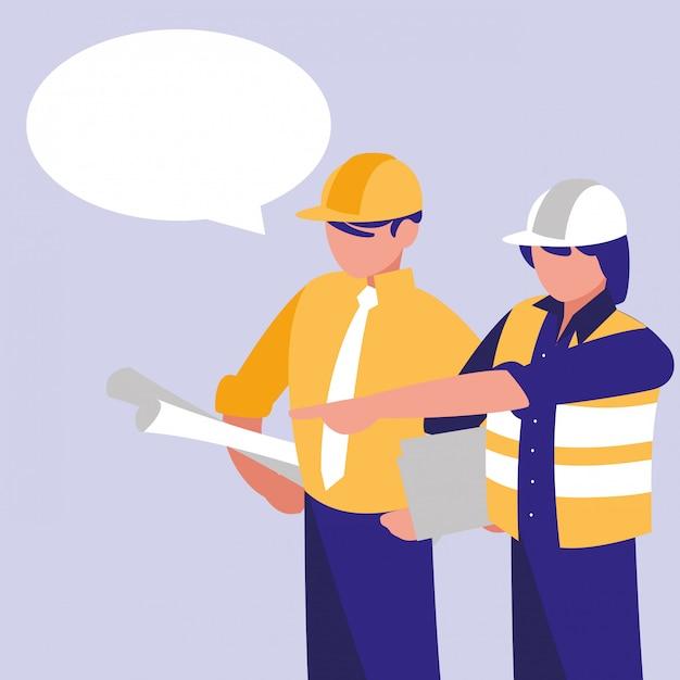 Grupa budowniczych z dymek Premium Wektorów