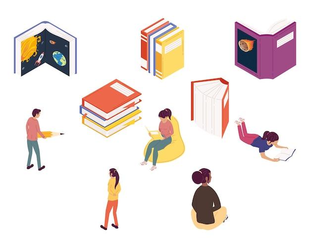 Grupa Czytelników Czytających Książki, Projekt Ilustracji Obchodów Dnia Książki Premium Wektorów
