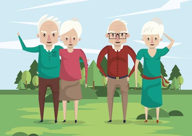 Grupa Dziadków Kochanków Pary W Tej Dziedzinie Premium Wektorów