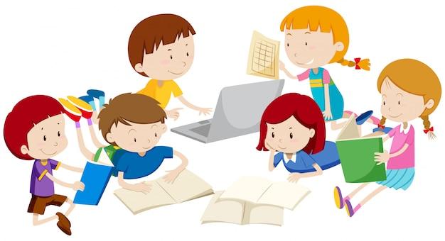 Grupa dzieci uczących się Darmowych Wektorów
