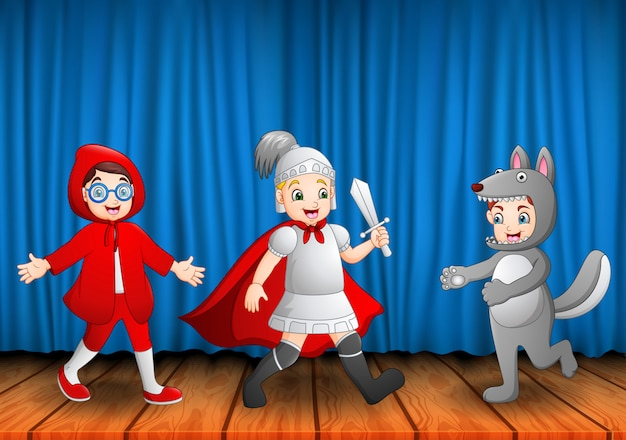 Grupa Dzieci Występujących Na Scenie Premium Wektorów