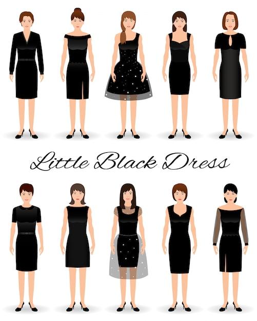 Grupa Kobiet W Małe Czarne Sukienki. Zestaw Sukienek Koktajlowych Na Modelach. Premium Wektorów