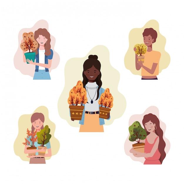 Grupa Kobiet Z Jesiennych Roślin Premium Wektorów