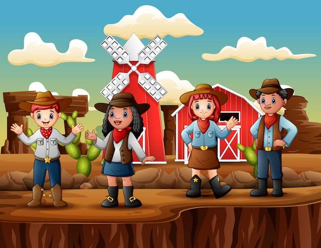 Grupa Kowbojów I Cowgirls W Gospodarstwie Dzikiego Zachodu Premium Wektorów