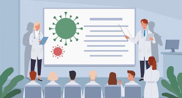 Grupa Lekarzy Na Konferencji. Lekarze Próbują Znaleźć Szczepionkę Przeciwko Koronawirusowi. Premium Wektorów