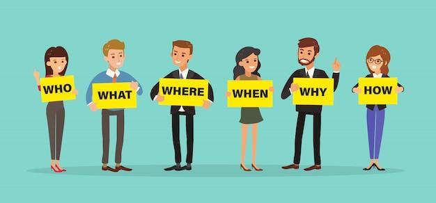 Grupa Ludzi Biznesu Gospodarstwa Wyżywienie Z Pytaniami. Premium Wektorów