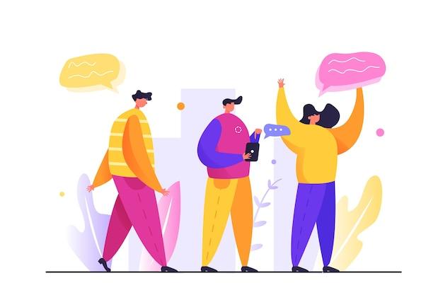 Grupa Ludzi Jest Na Ulicy, Facet Idzie Ulicą, Facet Z Telefonem Na Białym Tle Premium Wektorów