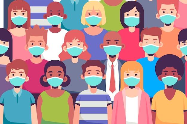 Grupa Ludzi Noszących Maski Na Twarz Darmowych Wektorów