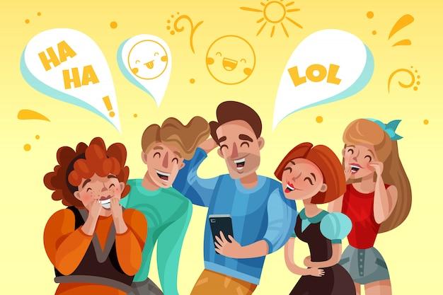 Grupa Ludzi Ogląda śmiesznego Wideo I śmiejącą Się Kreskówkę Darmowych Wektorów