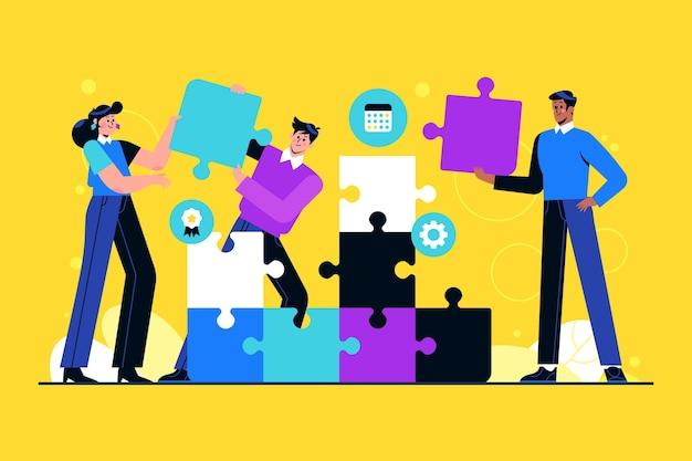 Grupa Ludzi Pracujących Razem Jako Zespół Premium Wektorów