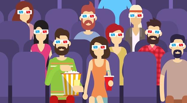 Grupa ludzi siedzi, oglądając film w kinie 3d okulary Premium Wektorów