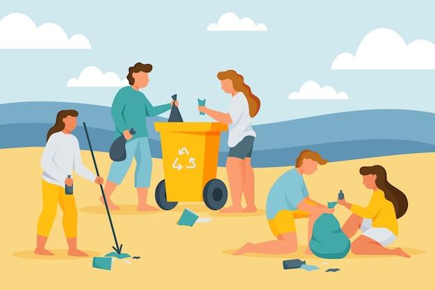 Grupa Ludzi, Sprzątanie Plaży Darmowych Wektorów
