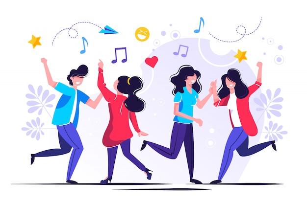 Grupa Ludzi Tańczących I Bawiących Się Przy Muzyce Premium Wektorów