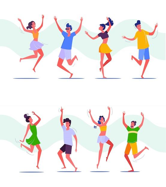 Grupa ludzi tańczących razem Darmowych Wektorów