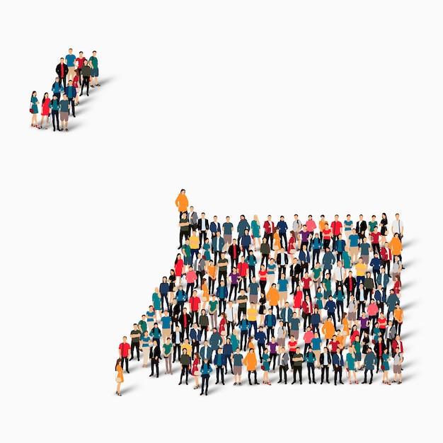 Grupa Ludzi Tłum Tworzących Mapę Gwinei Równikowej. Premium Wektorów