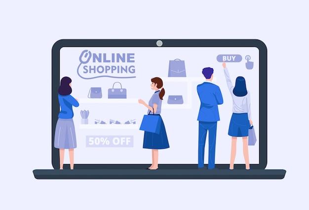 Grupa Ludzi Używa Laptop Dla Online Zakupy, Wektor Premium Wektorów