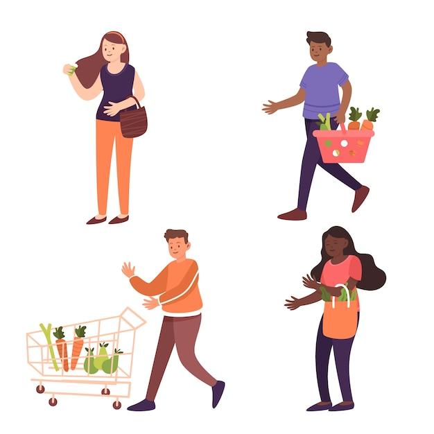 Grupa Ludzi Z Pojęciem żywności Darmowych Wektorów