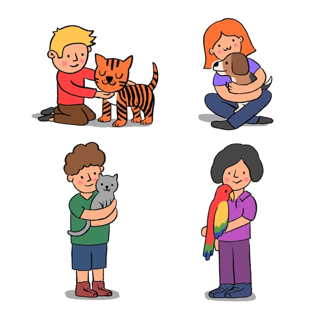 Grupa Ludzi Z Różnymi Zwierzętami Darmowych Wektorów