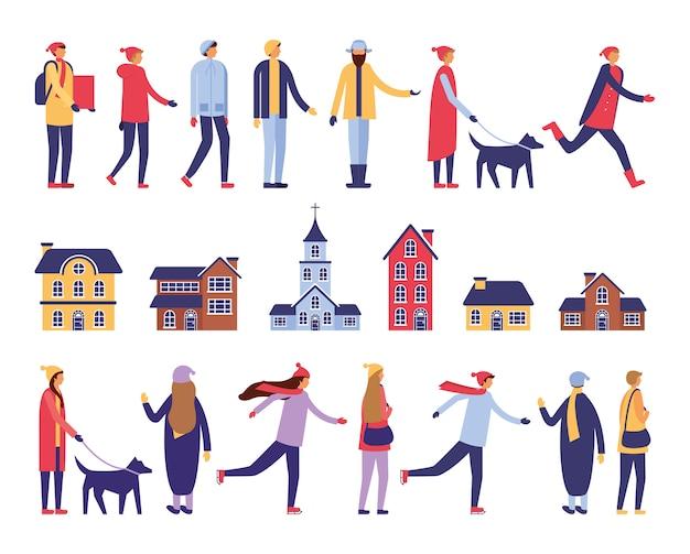 Grupa ludzi z zimowymi ubraniami i budynkami Darmowych Wektorów